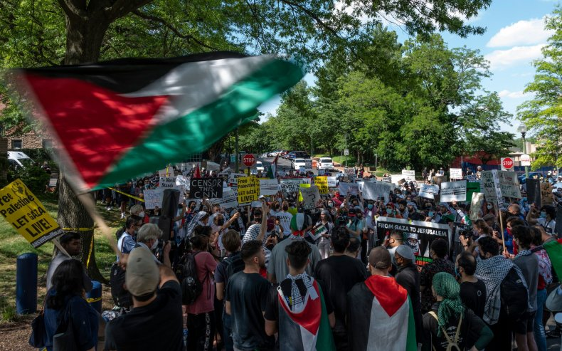 Protesters Rally in Solidarity With Palestinians at Israel's U.S. Embassy, Consulates 1