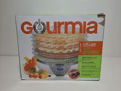 Gourmia Cut + Dry Auto Food Dehydrator Model GFD1550. White. 6 Stackable Shelves