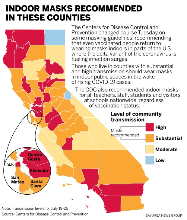 Map: California counties where the CDC urges indoor COVID mask use by everyone 1