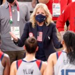 Donald Trump Supporters Protest as Jill Biden Visits Vaccine Clinic 17