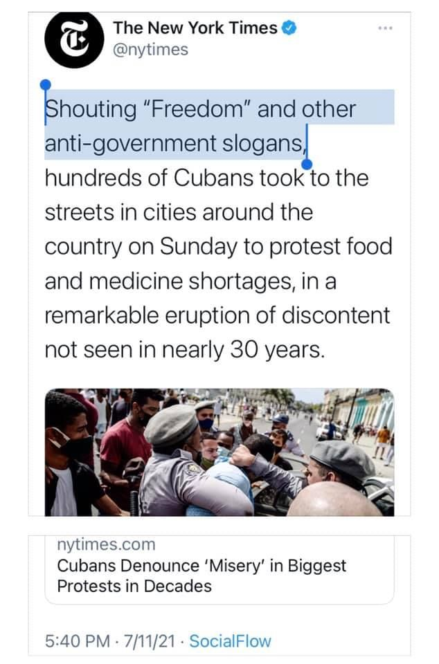 Thousands Protest for Freedom in Communist Cuba. The New York Times' Framing Would Please Stalin. 1