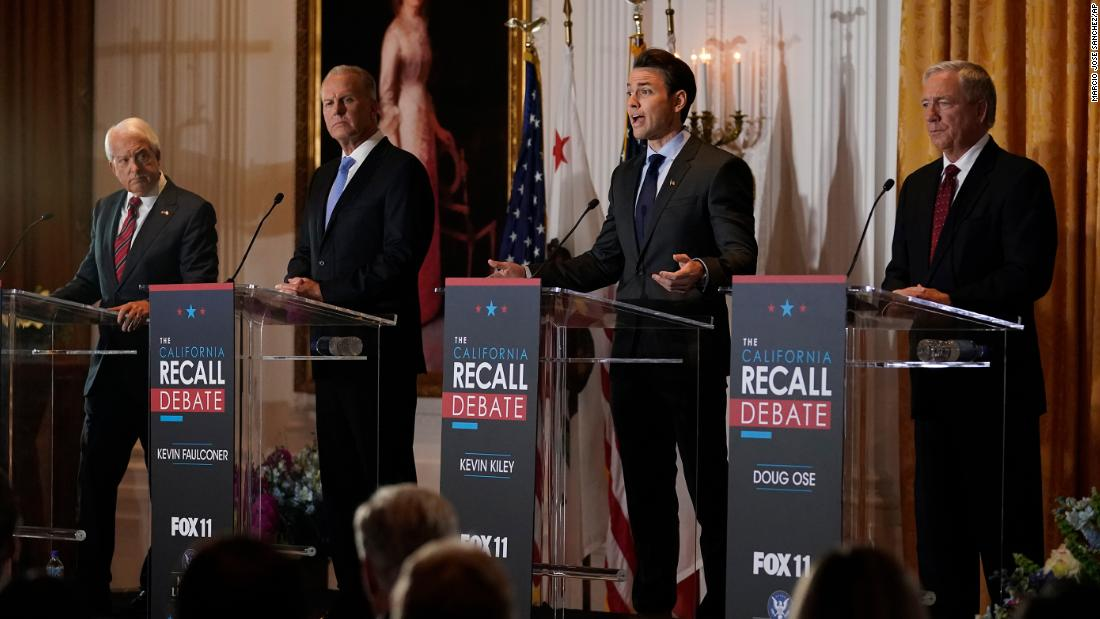 Republicans vying to replace Newsom in California recall attack his handling of Covid-19 in debate 1