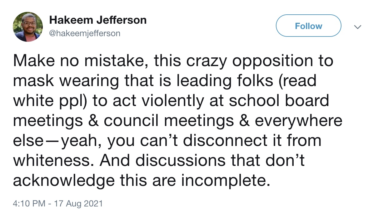 Prof at Top University Says 'Whiteness' Is Responsible for Opposition to School Mask Mandates 1