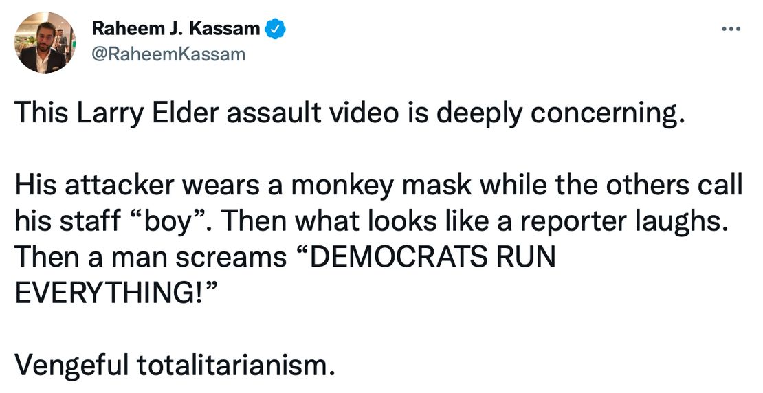 Disturbing: Woman in Gorilla Mask Hurls Eggs, Obscenities at Black GOP Candidate Larry Elder as Reporter Laughs 1
