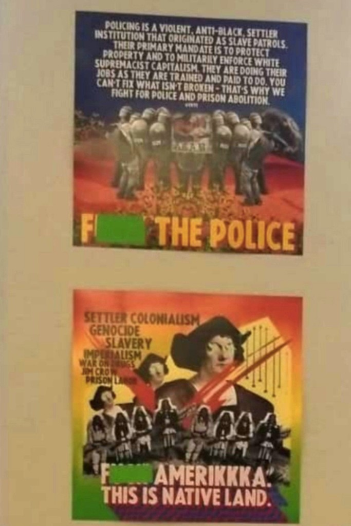 Photos show 'F–k the Police,' 'F–k Amerikkka' flags hanging in Los Angeles classroom 1
