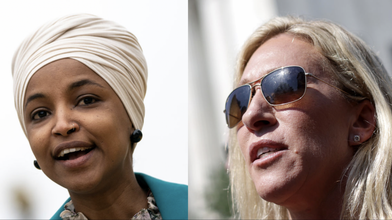 Ilhan Omar Calls Marjorie Taylor Greene 'Hypocrite Cult Leader' Over Masked Airplane Photo 1