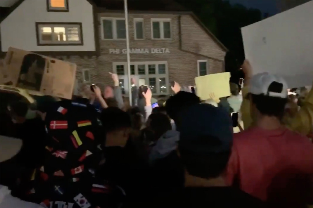 Protesters at Iowa fraternity demand it be abolished after sexual assault allegation emerges 1