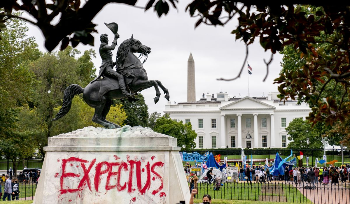 Climate protesters demand 'respect' from Biden, vandalize Andrew Jackson statue 1