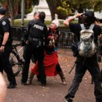 At least one arrest as climate activists protest outside White House on Indigenous Peoples' Day 8