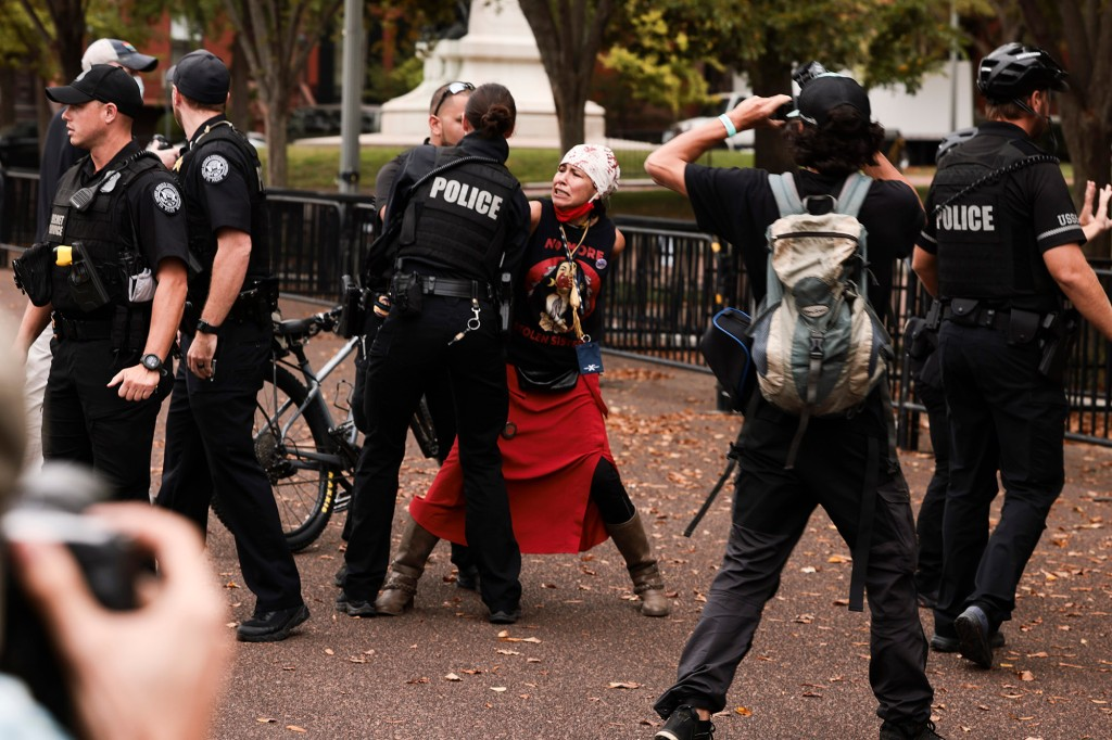 At least one arrest as climate activists protest outside White House on Indigenous Peoples' Day 1